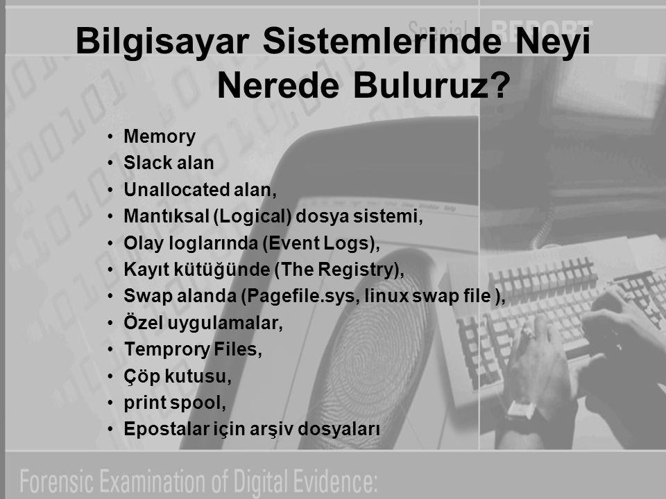 Bilgisayar Sistemlerinde Neyi Nerede Buluruz? Memory Slack alan Unallocated alan, Mantıksal (Logical) dosya sistemi, Olay loglarında (Event Logs), Kay