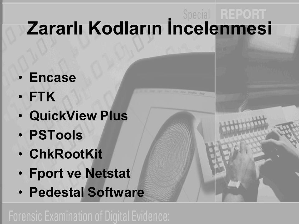 Zararlı Kodların İncelenmesi Encase FTK QuickView Plus PSTools ChkRootKit Fport ve Netstat Pedestal Software