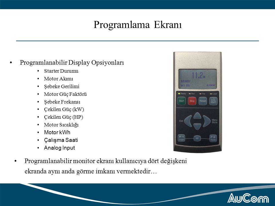 Programlama Ekranı Programlanabilir Display Opsiyonları Starter Durumu Motor Akımı Şebeke Gerilimi Motor Güç Faktörü Şebeke Frekansı Çekilen Güç (kW) Çekilen Güç (HP) Motor Sıcaklığı Motor kWh Çalışma Saati Analog Input Programlanabilir monitor ekranı kullanıcıya dört değişkeni ekranda aynı anda görme imkanı vermektedir…