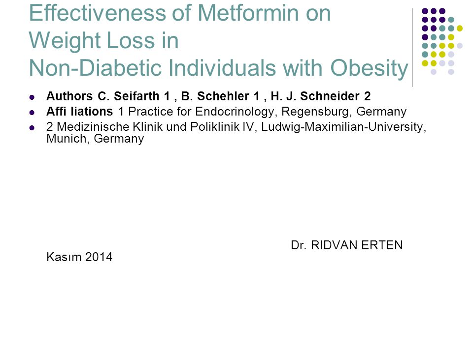 Effectiveness of Metformin on Weight Loss in Non-Diabetic Individuals with Obesity Authors C.