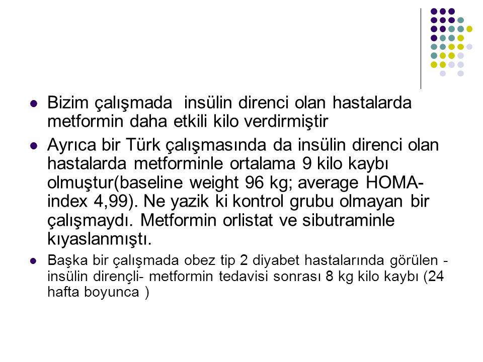 Bizim çalışmada insülin direnci olan hastalarda metformin daha etkili kilo verdirmiştir Ayrıca bir Türk çalışmasında da insülin direnci olan hastalarda metforminle ortalama 9 kilo kaybı olmuştur(baseline weight 96 kg; average HOMA- index 4,99).