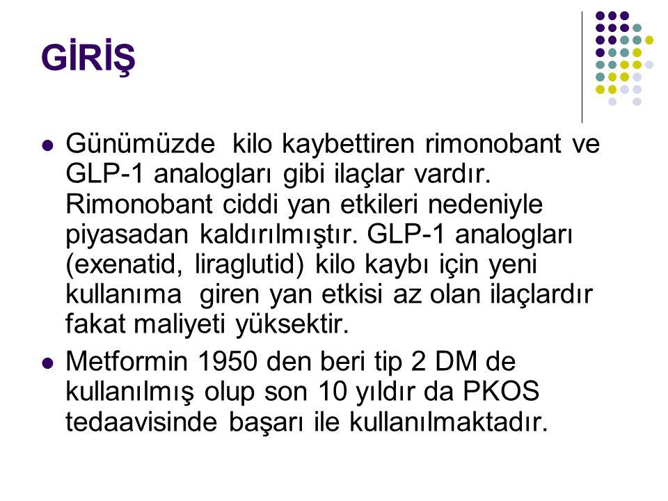 GİRİŞ Günümüzde kilo kaybettiren rimonobant ve GLP-1 analogları gibi ilaçlar vardır.
