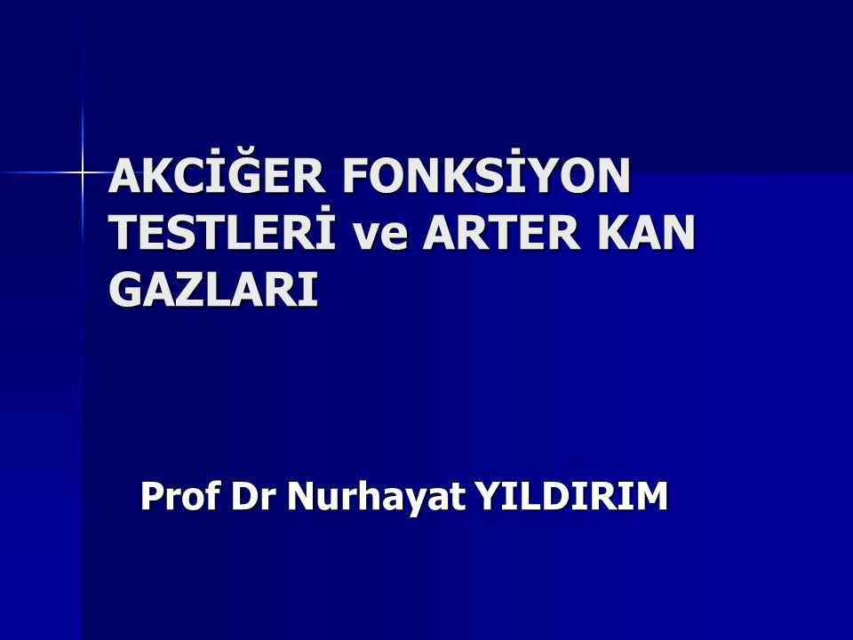 AKCİĞER FONKSİYON TESTLERİ ve ARTER KAN GAZLARI Prof Dr Nurhayat YILDIRIM