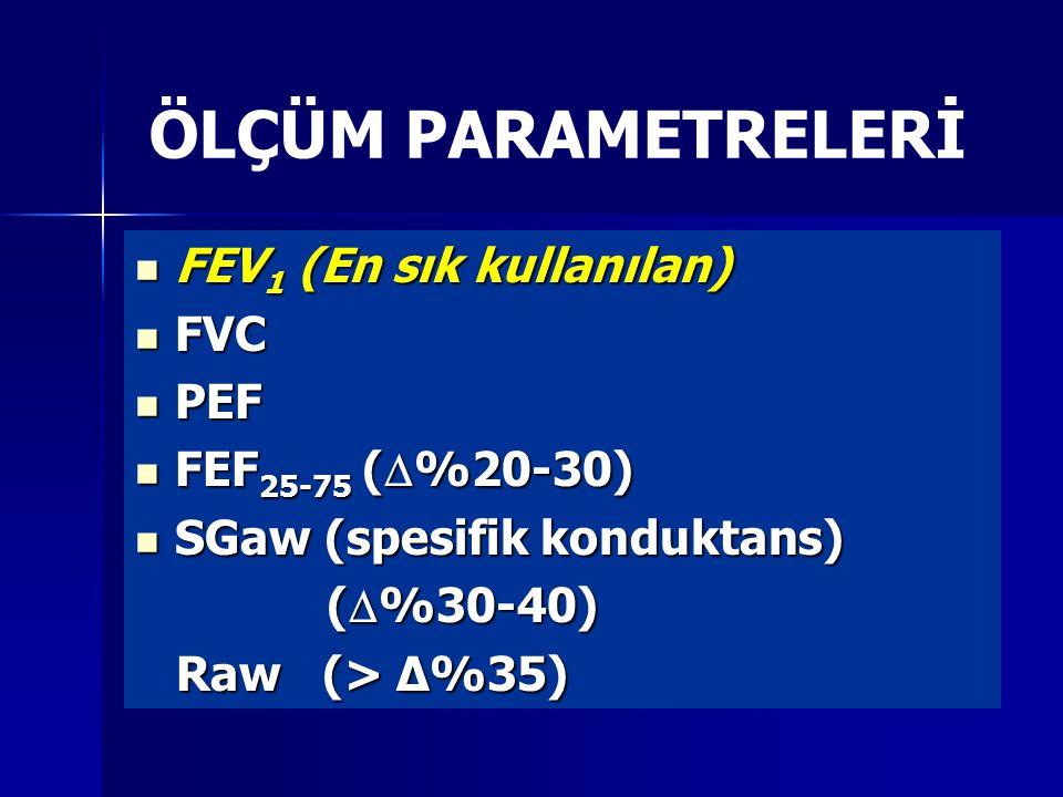 ÖLÇÜM PARAMETRELERİ FEV 1 (En sık kullanılan) FEV 1 (En sık kullanılan) FVC FVC PEF PEF FEF 25-75 (  %20-30) FEF 25-75 (  %20-30) SGaw (spesifik konduktans) SGaw (spesifik konduktans) (  %30-40) (  %30-40) Raw (> Δ%35) Raw (> Δ%35)