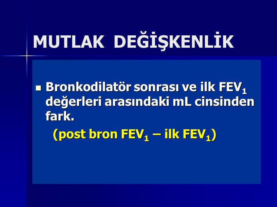 MUTLAK DEĞİŞKENLİK Bronkodilatör sonrası ve ilk FEV 1 değerleri arasındaki mL cinsinden fark.