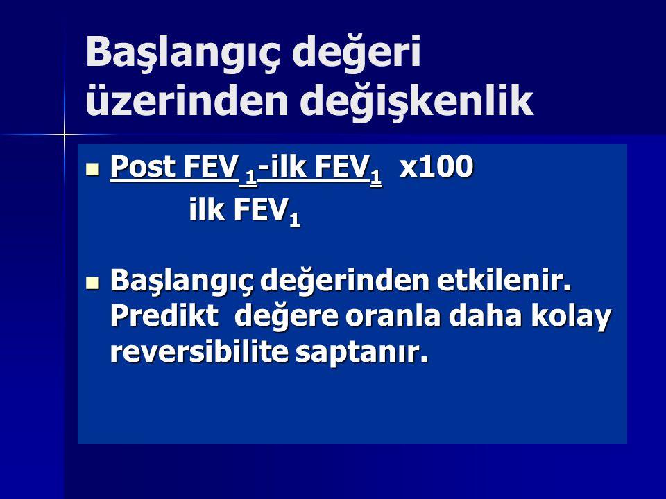 Başlangıç değeri üzerinden değişkenlik Post FEV 1 -ilk FEV 1 x100 Post FEV 1 -ilk FEV 1 x100 ilk FEV 1 ilk FEV 1 Başlangıç değerinden etkilenir.