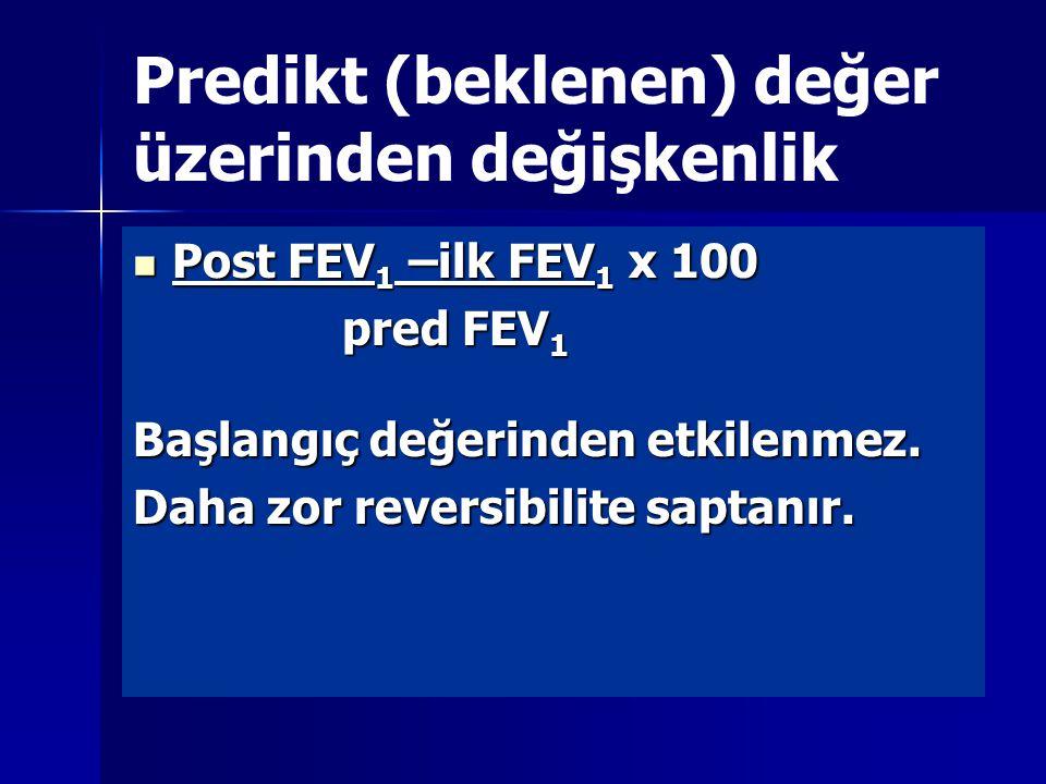 Predikt (beklenen) değer üzerinden değişkenlik Post FEV 1 –ilk FEV 1 x 100 Post FEV 1 –ilk FEV 1 x 100 pred FEV 1 Başlangıç değerinden etkilenmez.