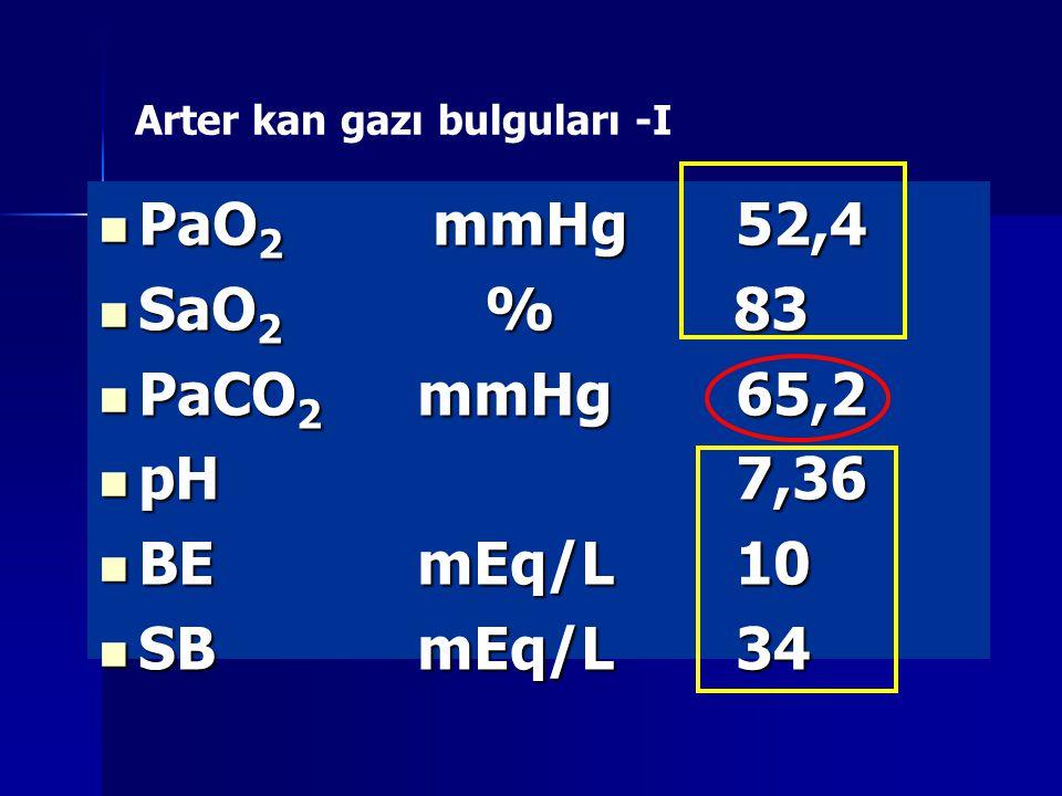Arter kan gazı bulguları -I PaO 2 mmHg52,4 PaO 2 mmHg52,4 SaO 2 % 83 SaO 2 % 83 PaCO 2 mmHg65,2 PaCO 2 mmHg65,2 pH7,36 pH7,36 BEmEq/L10 BEmEq/L10 SBmEq/L34 SBmEq/L34