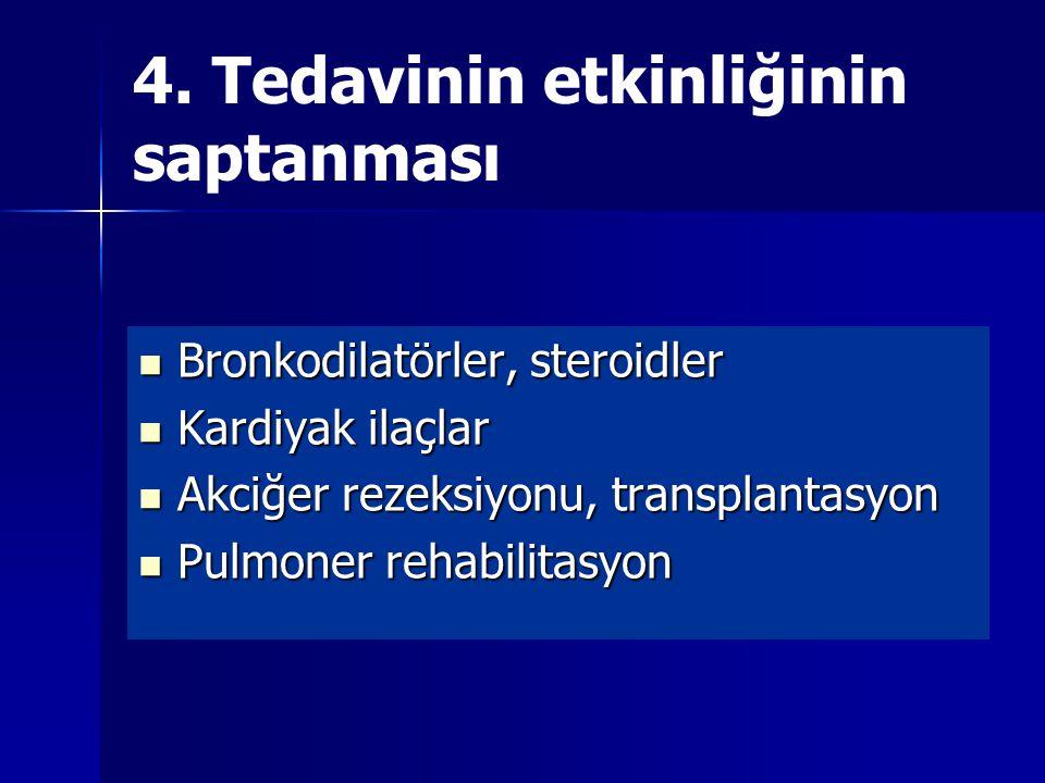 4. Tedavinin etkinliğinin saptanması Bronkodilatörler, steroidler Bronkodilatörler, steroidler Kardiyak ilaçlar Kardiyak ilaçlar Akciğer rezeksiyonu,
