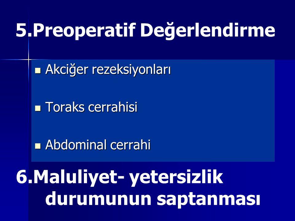 5.Preoperatif Değerlendirme Akciğer rezeksiyonları Akciğer rezeksiyonları Toraks cerrahisi Toraks cerrahisi Abdominal cerrahi Abdominal cerrahi 6.Maluliyet- yetersizlik durumunun saptanması