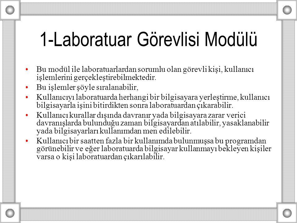 1-Laboratuar Görevlisi Modülü Bu modül ile laboratuarlardan sorumlu olan görevli kişi, kullanıcı işlemlerini gerçekleştirebilmektedir.