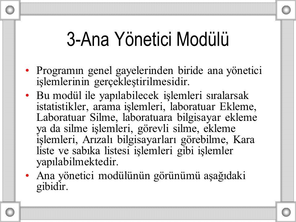 3-Ana Yönetici Modülü Programın genel gayelerinden biride ana yönetici işlemlerinin gerçekleştirilmesidir.