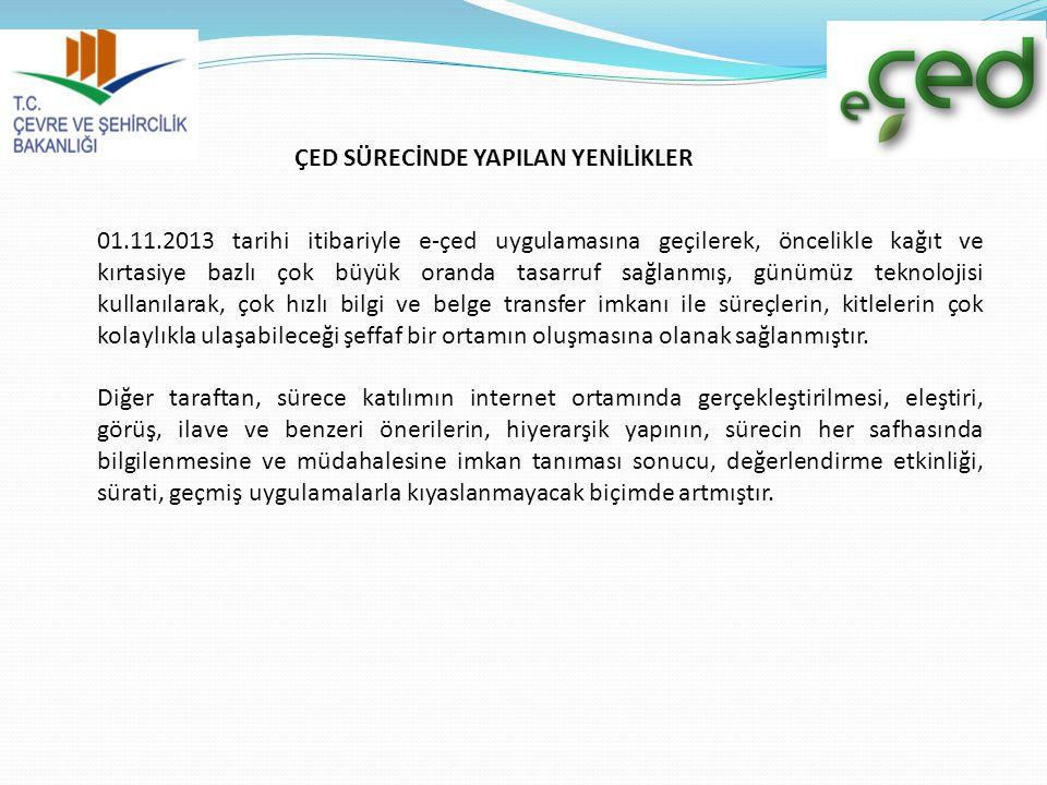 ÇED SÜRECİNDE YAPILAN YENİLİKLER 01.11.2013 tarihi itibariyle e-çed uygulamasına geçilerek, öncelikle kağıt ve kırtasiye bazlı çok büyük oranda tasarr