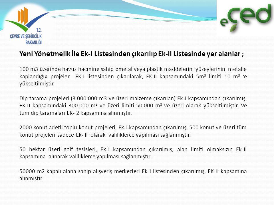 Yeni Yönetmelik İle Ek-I Listesinden çıkarılıp Ek-II Listesinde yer alanlar ; 100 m3 üzerinde havuz hacmine sahip «metal veya plastik maddelerin yüzeylerinin metalle kaplandığı» projeler EK-I listesinden çıkarılarak, EK-II kapsamındaki 5m 3 limiti 10 m 3 'e yükseltilmiştir.