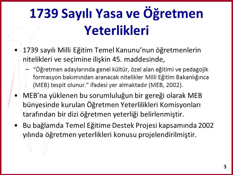 """3 1739 Sayılı Yasa ve Öğretmen Yeterlikleri 1739 sayılı Milli Eğitim Temel Kanunu'nun öğretmenlerin nitelikleri ve seçimine ilişkin 45. maddesinde, –"""""""