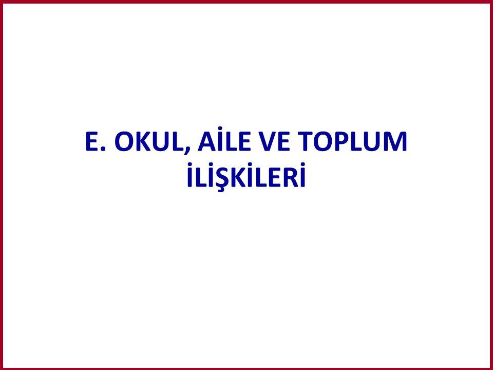 E. OKUL, AİLE VE TOPLUM İLİŞKİLERİ