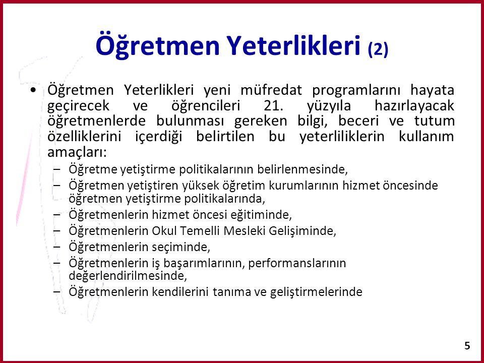 6 Öğretmen Yeterlikleri (3) MEB, Öğretmen Yetiştirme Genel Müdürlüğü 2006 yılında Türkiye'de görev yapan öğretmenlerin genel yeterlik ölçütlerini belirlediği bu projeyi tamamlayarak uygulamaya koymuştur.