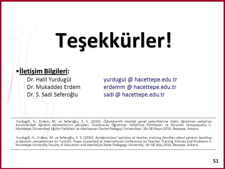51 Teşekkürler! İletişim Bilgileri:İletişim Bilgileri: Dr. Halil Yurdugülyurdugul @ hacettepe.edu.tr Dr. Mukaddes Erdemerdemm @ hacettepe.edu.tr Dr. S