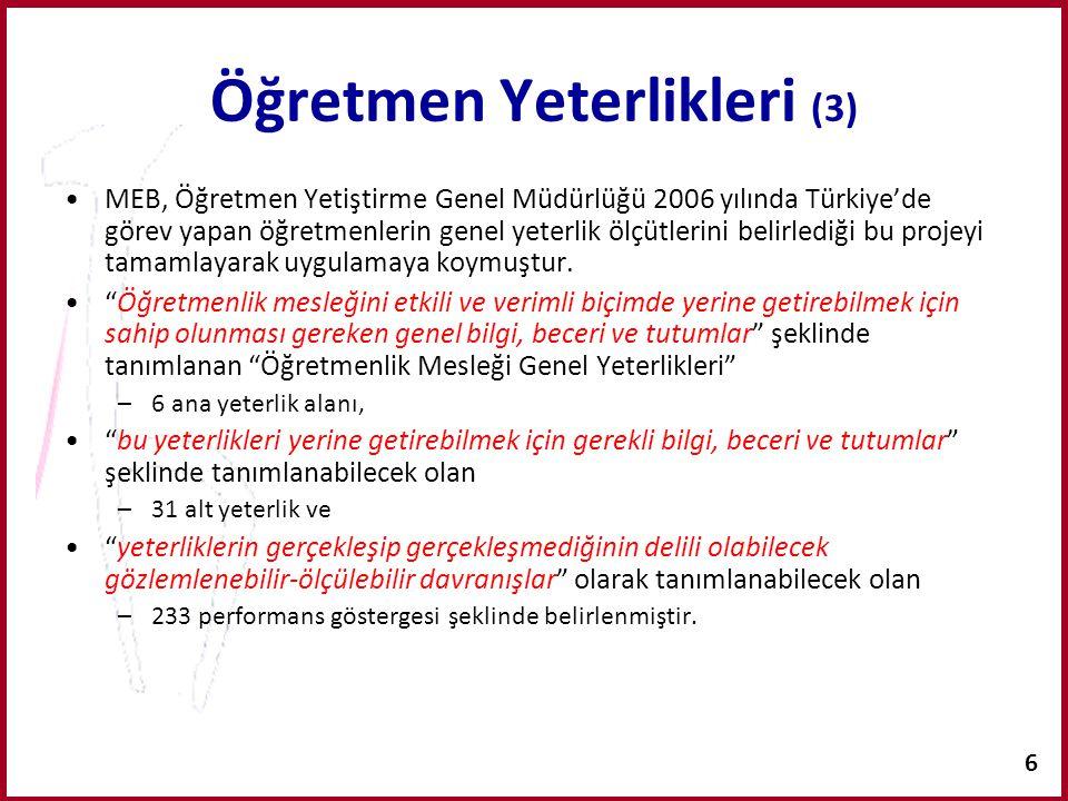 6 Öğretmen Yeterlikleri (3) MEB, Öğretmen Yetiştirme Genel Müdürlüğü 2006 yılında Türkiye'de görev yapan öğretmenlerin genel yeterlik ölçütlerini beli