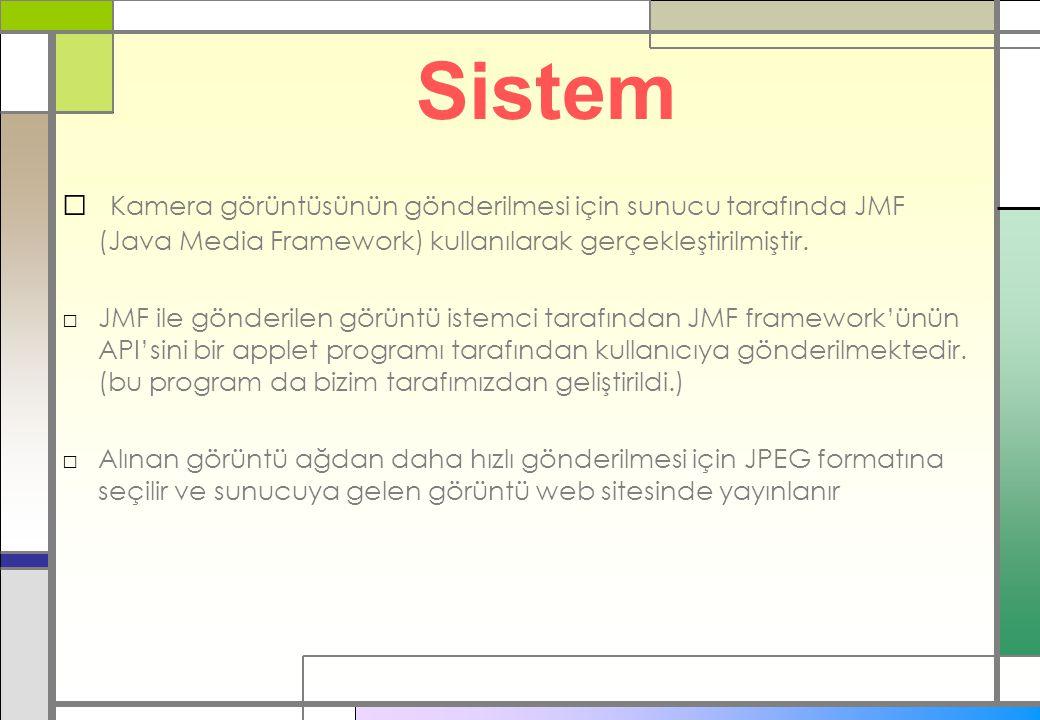 Sistem □ Kamera görüntüsünün gönderilmesi için sunucu tarafında JMF (Java Media Framework) kullanılarak gerçekleştirilmiştir.