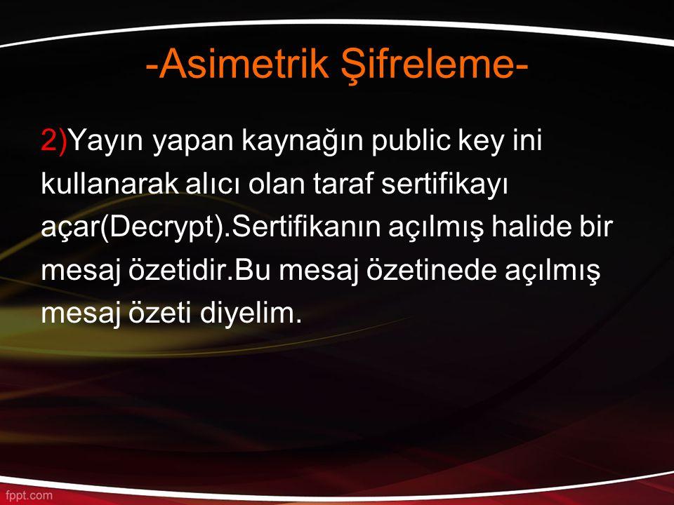 -Asimetrik Şifreleme- 2)Yayın yapan kaynağın public key ini kullanarak alıcı olan taraf sertifikayı açar(Decrypt).Sertifikanın açılmış halide bir mesaj özetidir.Bu mesaj özetinede açılmış mesaj özeti diyelim.