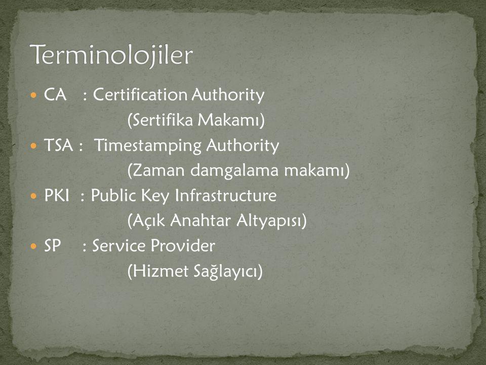 CA : Certification Authority (Sertifika Makamı) TSA : Timestamping Authority (Zaman damgalama makamı) PKI : Public Key Infrastructure (Açık Anahtar Al