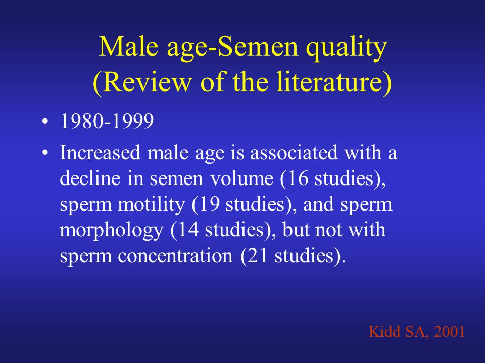 Male age-Semen quality (Review of the literature) 1980-1999 Increased male age is associated with a decline in semen volume (16 studies), sperm motili