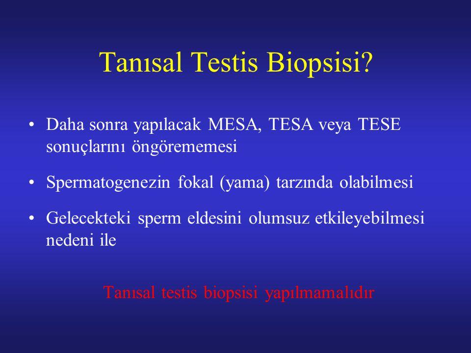 Tanısal Testis Biopsisi? Daha sonra yapılacak MESA, TESA veya TESE sonuçlarını öngörememesi Spermatogenezin fokal (yama) tarzında olabilmesi Gelecekte