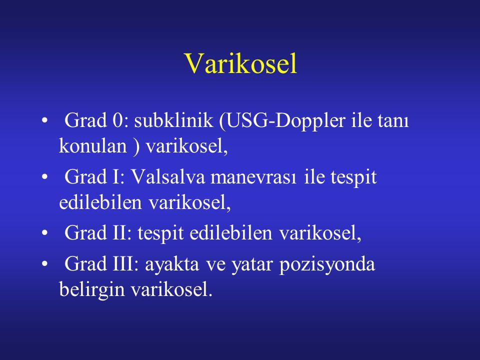 Varikosel Grad 0: subklinik (USG-Doppler ile tanı konulan ) varikosel, Grad I: Valsalva manevrası ile tespit edilebilen varikosel, Grad II: tespit edi