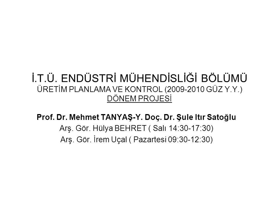 İ.T.Ü. ENDÜSTRİ MÜHENDİSLİĞİ BÖLÜMÜ ÜRETİM PLANLAMA VE KONTROL (2009-2010 GÜZ Y.Y.) DÖNEM PROJESİ Prof. Dr. Mehmet TANYAŞ-Y. Doç. Dr. Şule Itır Satoğl