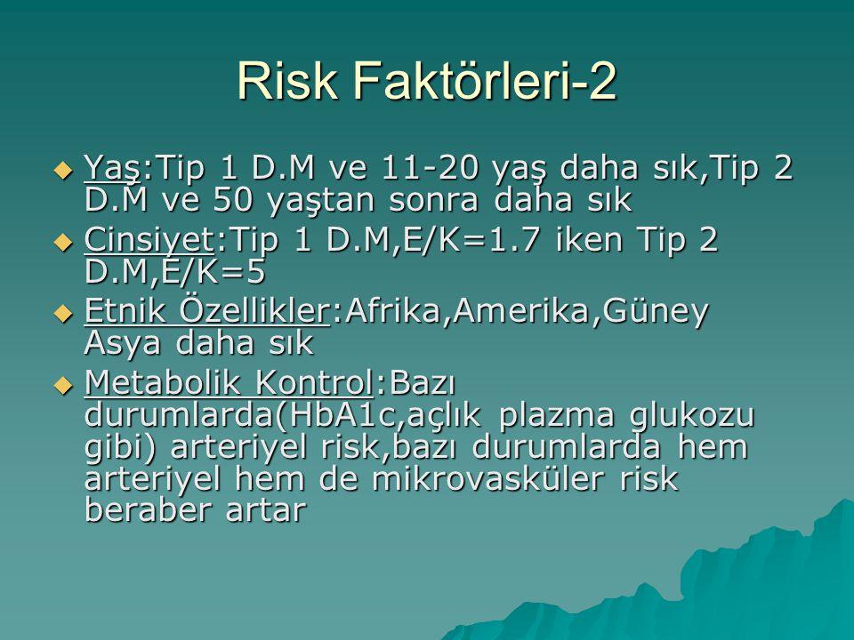 Risk Faktörleri-2  Yaş:Tip 1 D.M ve 11-20 yaş daha sık,Tip 2 D.M ve 50 yaştan sonra daha sık  Cinsiyet:Tip 1 D.M,E/K=1.7 iken Tip 2 D.M,E/K=5  Etni