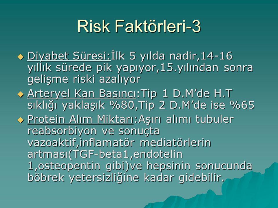 Risk Faktörleri-3  Diyabet Süresi:İlk 5 yılda nadir,14-16 yıllık sürede pik yapıyor,15.yılından sonra gelişme riski azalıyor  Arteryel Kan Basıncı:T