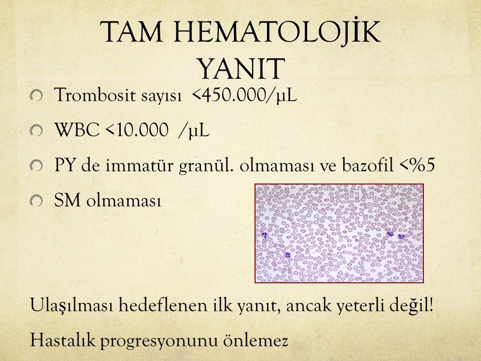 Trombosit sayısı <450.000/µL WBC <10.000 /µL PY de immatür granül. olmaması ve bazofil <%5 SM olmaması Ula ş ılması hedeflenen ilk yanıt, ancak yeterl