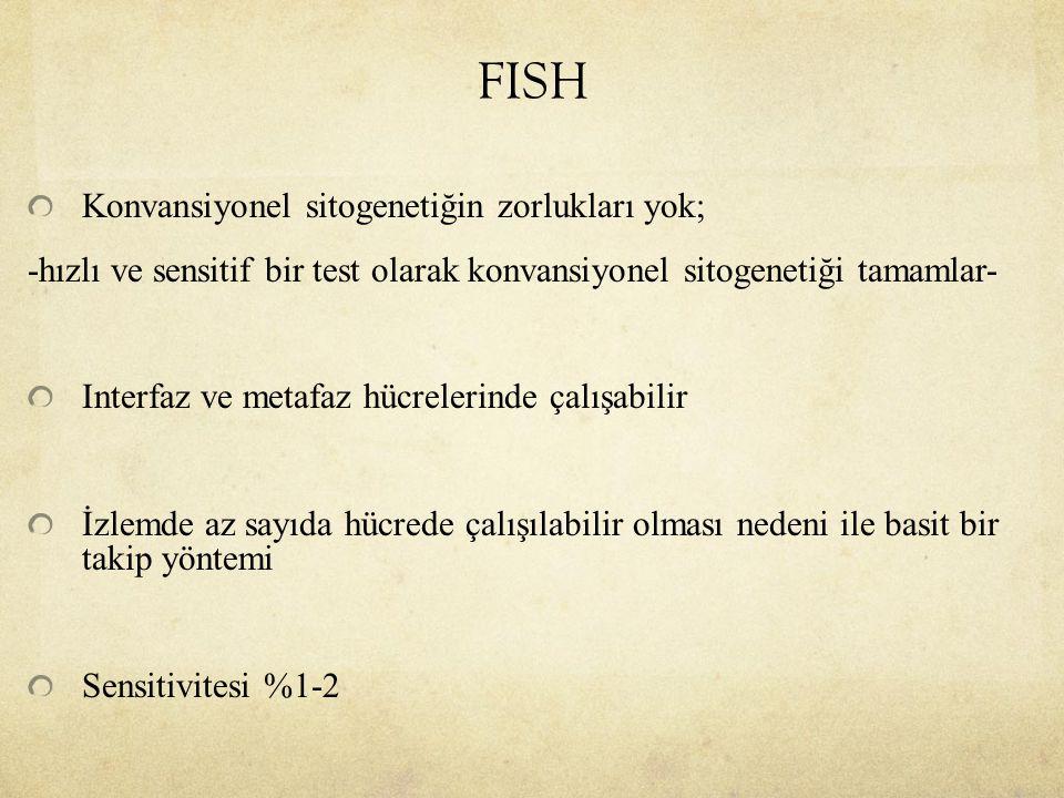 FISH Konvansiyonel sitogenetiğin zorlukları yok; -hızlı ve sensitif bir test olarak konvansiyonel sitogenetiği tamamlar- Interfaz ve metafaz hücreleri