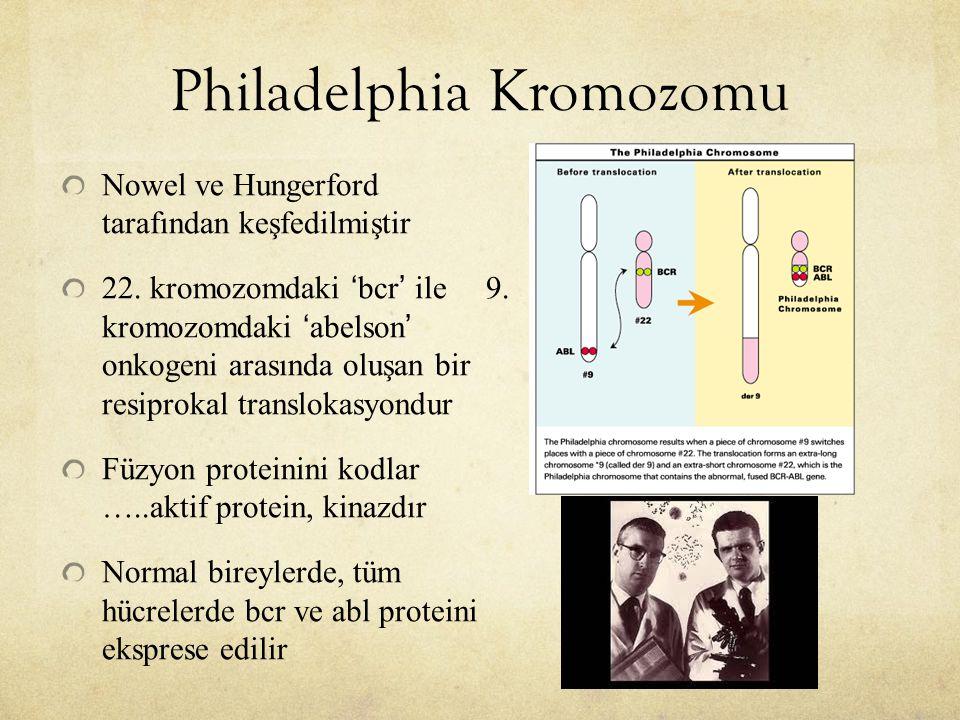 Philadelphia Kromozomu Nowel ve Hungerford tarafından keşfedilmiştir 22. kromozomdaki 'bcr' ile 9. kromozomdaki 'abelson' onkogeni arasında oluşan bir