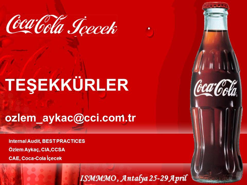 ISMMMO, Antalya 25-29 April TEŞEKKÜRLER ozlem_aykac@cci.com.tr Internal Audit, BEST PRACTICES Özlem Aykaç, CIA,CCSA CAE, Coca-Cola İçecek