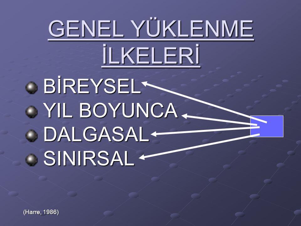 GENEL YÜKLENME İLKELERİ BİREYSEL BİREYSEL YIL BOYUNCA YIL BOYUNCA DALGASAL DALGASAL SINIRSAL SINIRSAL (Harre, 1986)