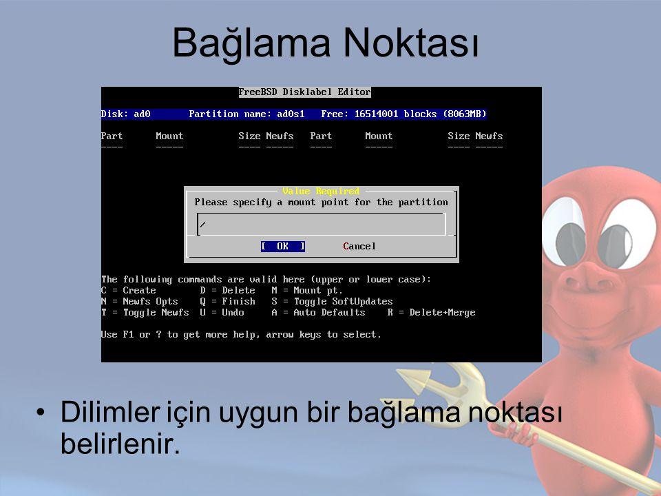 Disklabel Disklabel editörü ile dilimler oluşturulur.