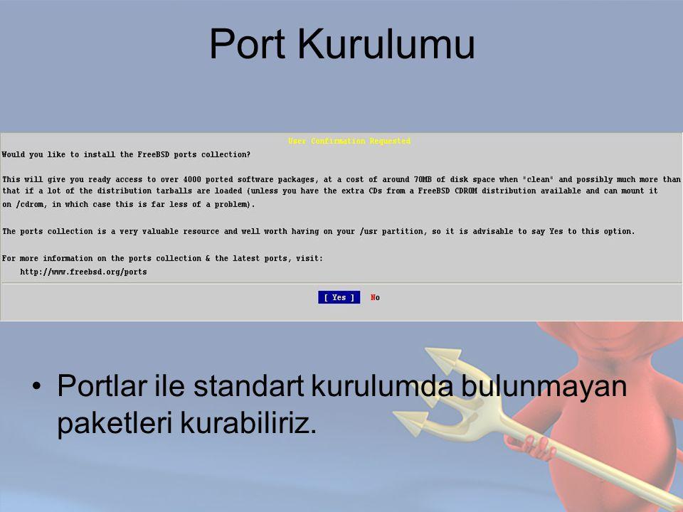 Port Kurulumu Portlar ile standart kurulumda bulunmayan paketleri kurabiliriz.
