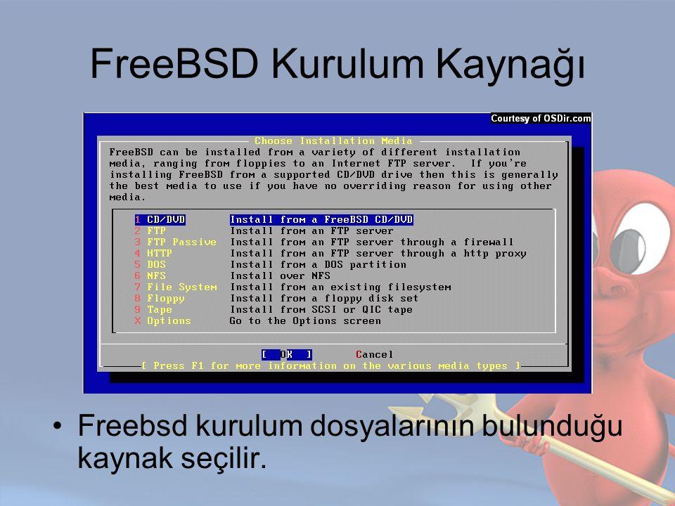 FreeBSD Kurulum Kaynağı Freebsd kurulum dosyalarının bulunduğu kaynak seçilir.