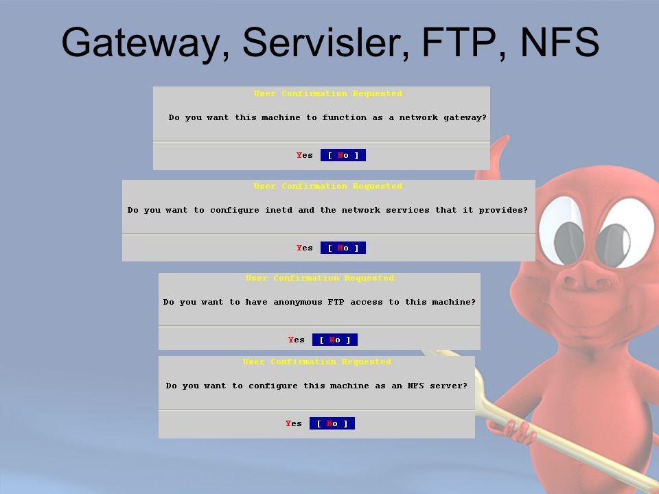 Gateway, Servisler, FTP, NFS