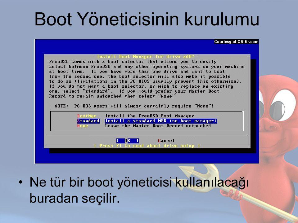 Boot Yöneticisinin kurulumu Ne tür bir boot yöneticisi kullanılacağı buradan seçilir.