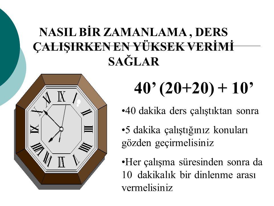 40' (20+20) + 10' 40 dakika ders çalıştıktan sonra 5 dakika çalıştığınız konuları gözden geçirmelisiniz Her çalışma süresinden sonra da 10 dakikalık b