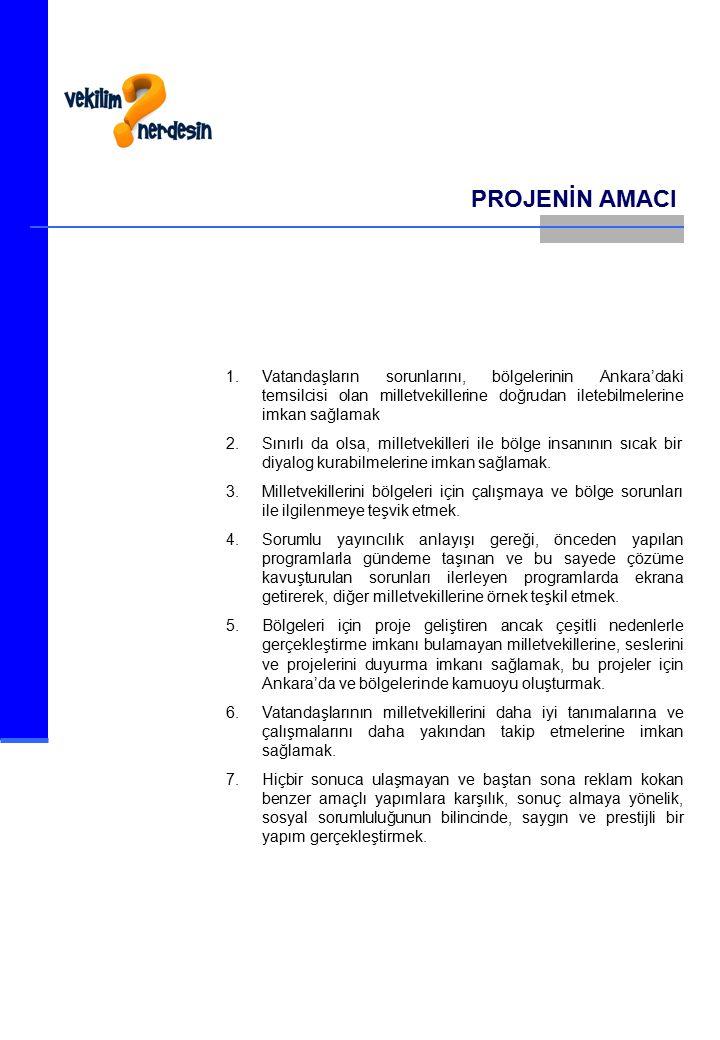 PROJENİN AMACI 1.Vatandaşların sorunlarını, bölgelerinin Ankara'daki temsilcisi olan milletvekillerine doğrudan iletebilmelerine imkan sağlamak 2.Sınırlı da olsa, milletvekilleri ile bölge insanının sıcak bir diyalog kurabilmelerine imkan sağlamak.