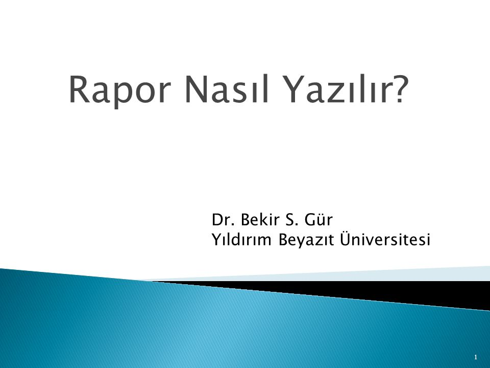 Rapor Nasıl Yazılır? Dr. Bekir S. Gür Yıldırım Beyazıt Üniversitesi 1