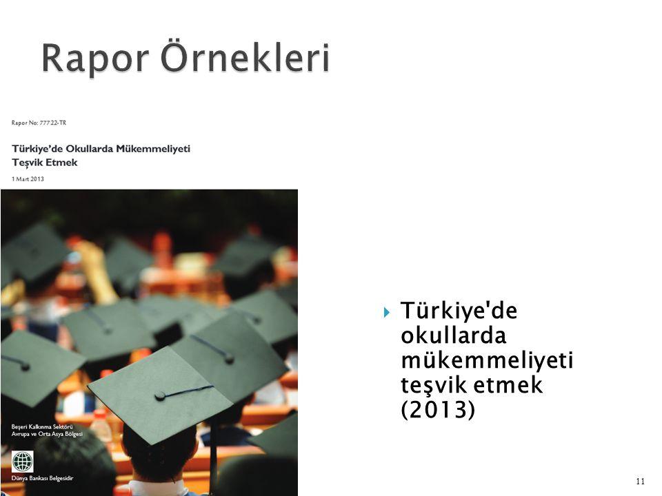  Türkiye de okullarda mükemmeliyeti teşvik etmek (2013) 11