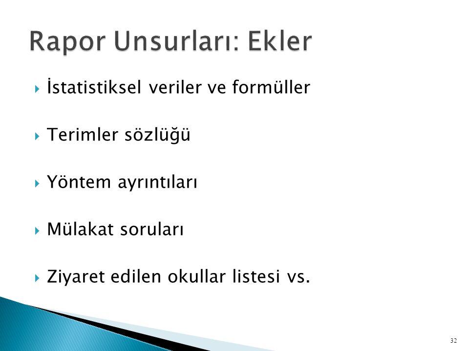  İstatistiksel veriler ve formüller  Terimler sözlüğü  Yöntem ayrıntıları  Mülakat soruları  Ziyaret edilen okullar listesi vs.