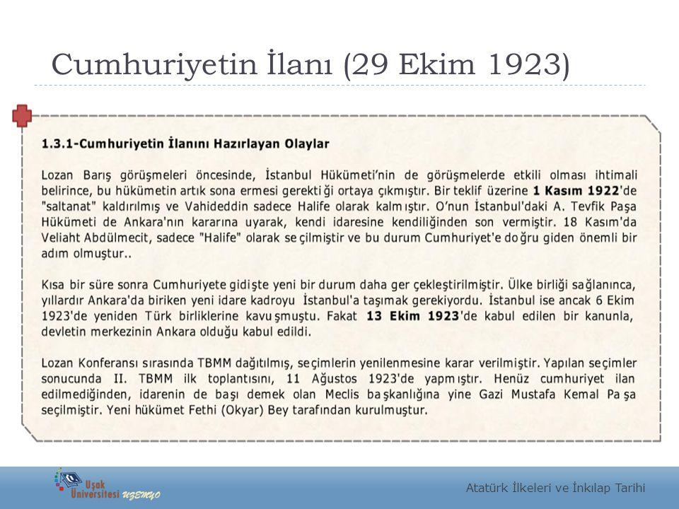 Cumhuriyetin İlanı (29 Ekim 1923) Atatürk İlkeleri ve İnkılap Tarihi