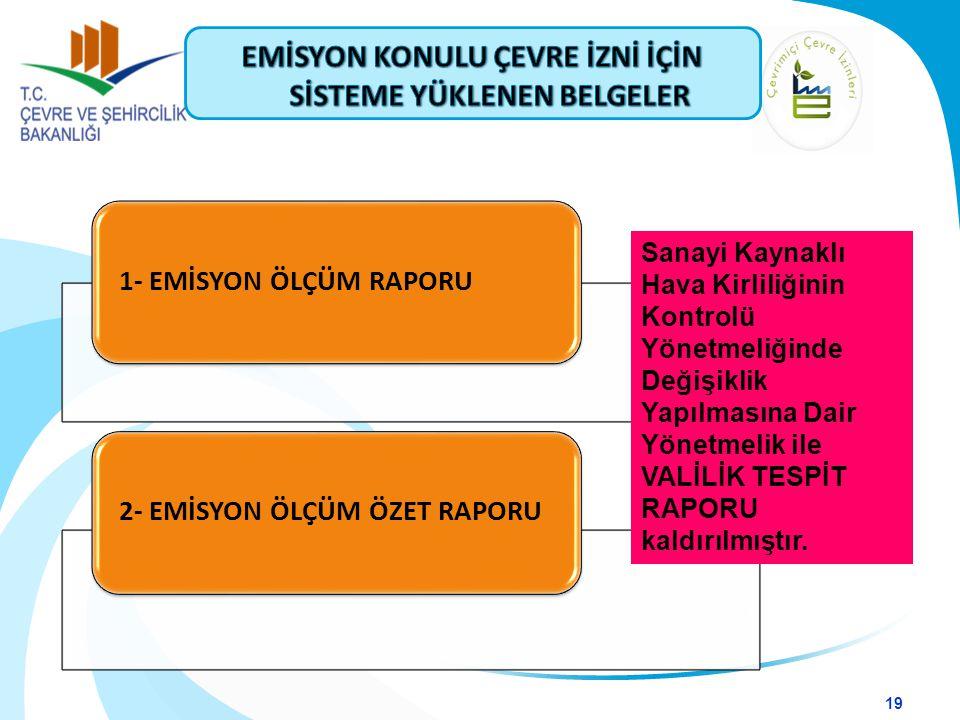 1- EMİSYON ÖLÇÜM RAPORU2- EMİSYON ÖLÇÜM ÖZET RAPORU 19 Sanayi Kaynaklı Hava Kirliliğinin Kontrolü Yönetmeliğinde Değişiklik Yapılmasına Dair Yönetmeli