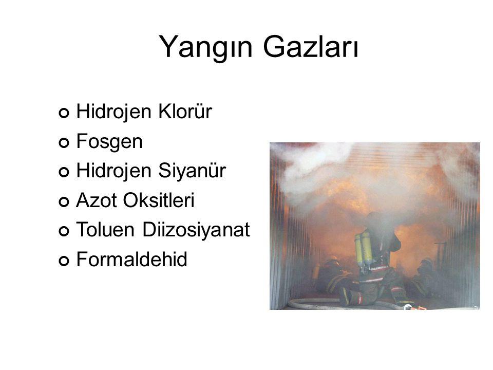 Yangın Gazları Hidrojen Klorür Fosgen Hidrojen Siyanür Azot Oksitleri Toluen Diizosiyanat Formaldehid